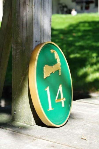 Carved House number with Cape Cod Border, or other image in any color (HN6) - The Carving Company
