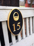 Any color Carved House number with Nantucket Basket iso view