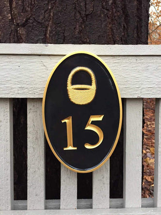 Any color Carved House number with Nantucket Basket, or other image (HN2) - The Carving Company
