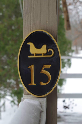 Any color Carved House number with Winter Sleigh, or other image (HN4) - The Carving Company