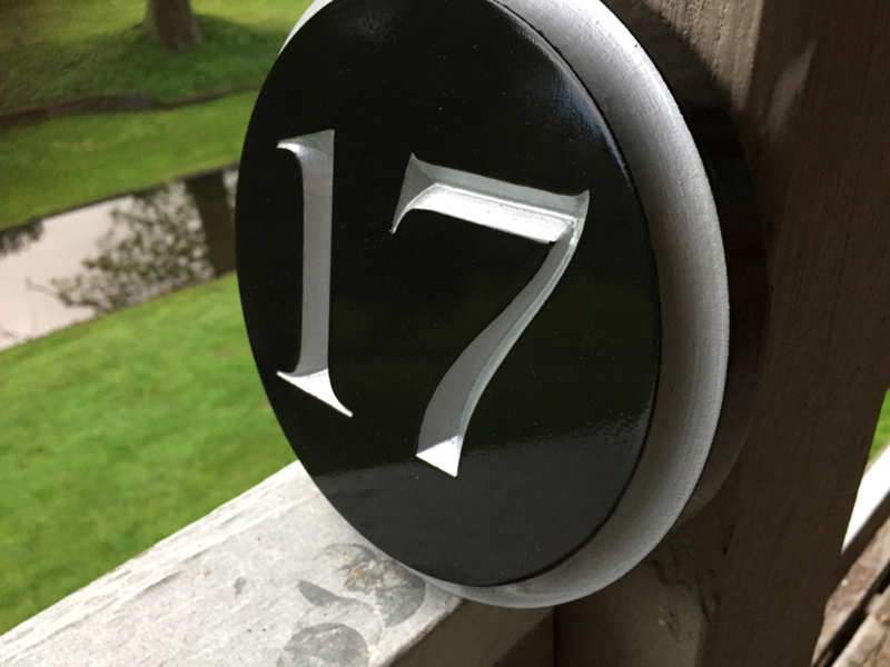 Circular House Marker signs - Custom Round Street Number plaque  (A177) - The Carving Company