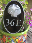 NEW! - House number sign with Realistic sea shell nautical theme front view - Carved Street address marker (A179) - The Carving Company