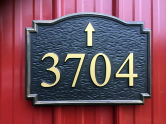 Custom Carved Road Number with Arrow in any direction- Street address Sign  (A181) - The Carving Company
