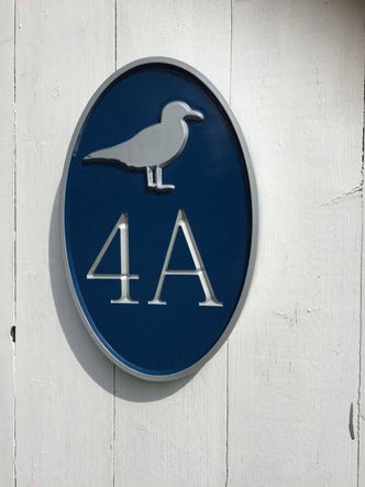 Any color Carved House number with Seagull, or other image (A170) - The Carving Company