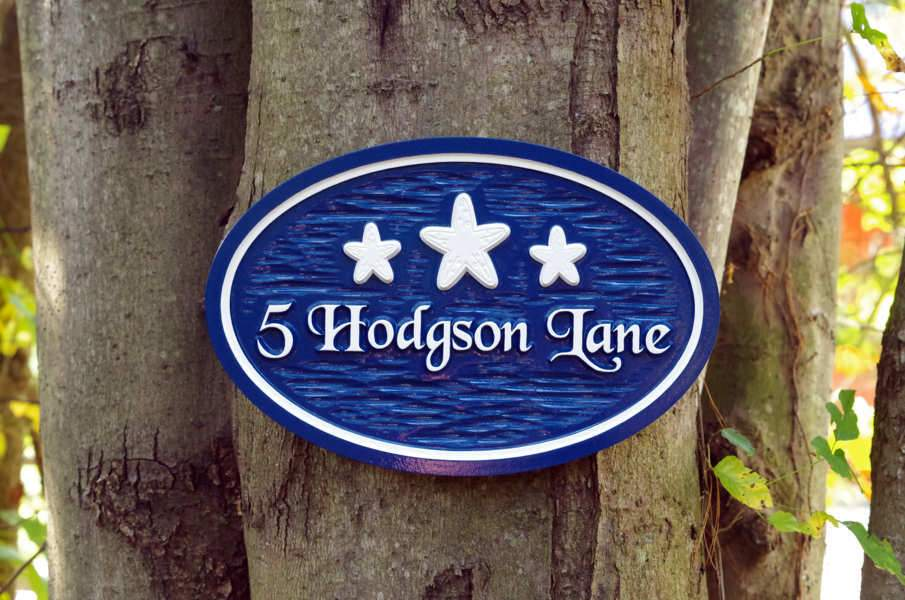 Beach themed Oval Street Address with 3 Starfish (S10) - The Carving Company signs