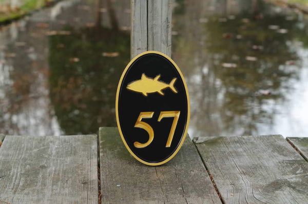 Custom made oval house number sign painted black and gold with tuna image