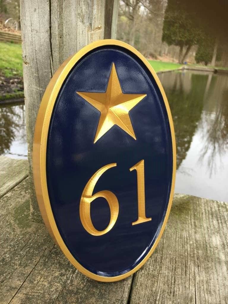 Carved Street Address plaque - House number with Star or other stock image (A174) - The Carving Company