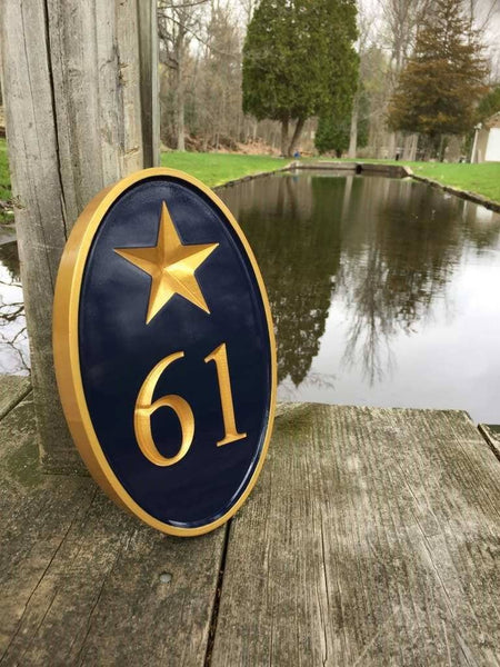 Custom made house number with 61 and patriotic star