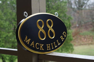 Address Marker Sign for Bracket Hanging with Street Name and Large house number (A172) - The Carving Company
