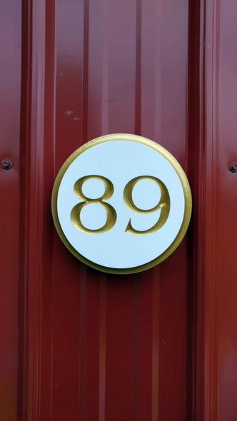 Custom Round Street Number plaque  - Circular House Marker signs (A180) - The Carving Company