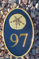 House number sign with Sand Dollar or other stock image weatherproof (HN9)