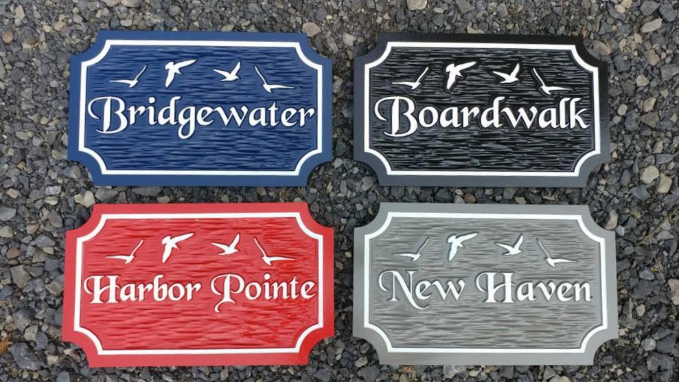 Custom Carved Estate Name sign with Seagull or other images - Beach theme (LN57) - The Carving Company front view