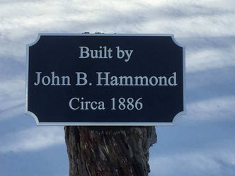 Custom Carved Builders Name Sign / Built by Sign with Historic circa year (LN51) - The Carving Company