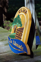 NEW! Rustic Cedar Carved and Hand Painted Entrance to Camp Sign (C15) - The Carving Company