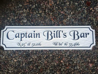Custom Quarterboard sign - Add your name or place and coordinates (Q52) - The Carving Company front view
