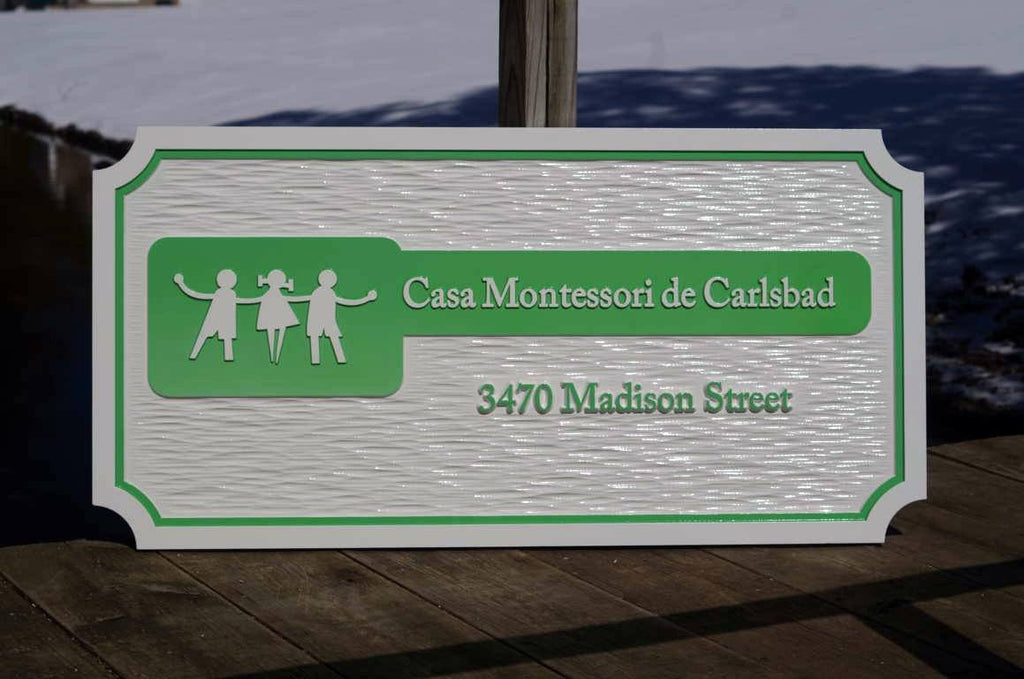 Custom Carved Company Signs - Dimensional Entrance Sign for Day Care or other Business (B93) - The Carving Company