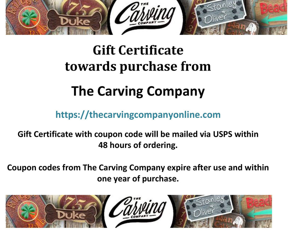 Gift Certificate to The Carving Company - The Carving Company