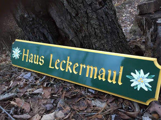 Quarterboard with German Style Font and Edelweiss-Add your own name Q55 - The Carving Company