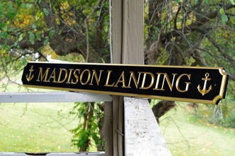 Custom Carved Quarterboard sign with your Name or House Name and Anchors  (Q43) - The Carving Company