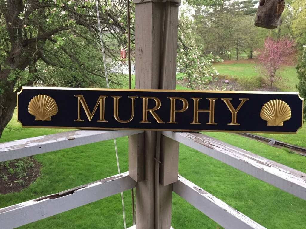 Custom Carved Quarterboard sign with 3D Scallop Shell - Add your name or place (Q46) - The Carving Company