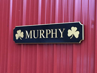 Personalized Family Name Quarterboard - Your Text Choice - Shamrocks (Q90)