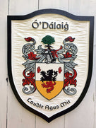 O'Dalaig family crest custom carved and painted