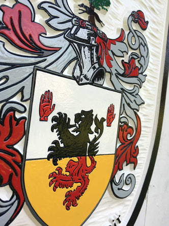 close up of o'dalaig family crest