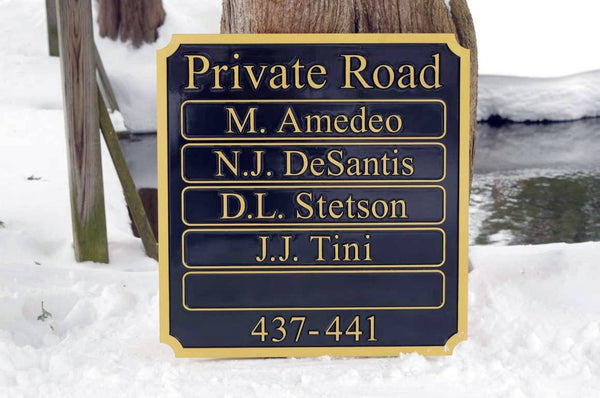 Multiple name private road sign custom made painted black and gold