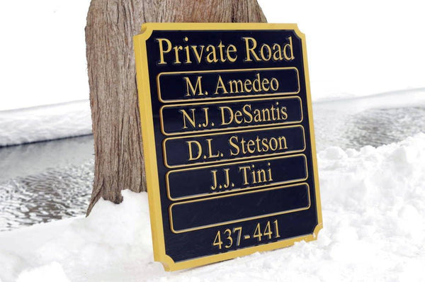 Multiple name private road sign custom made