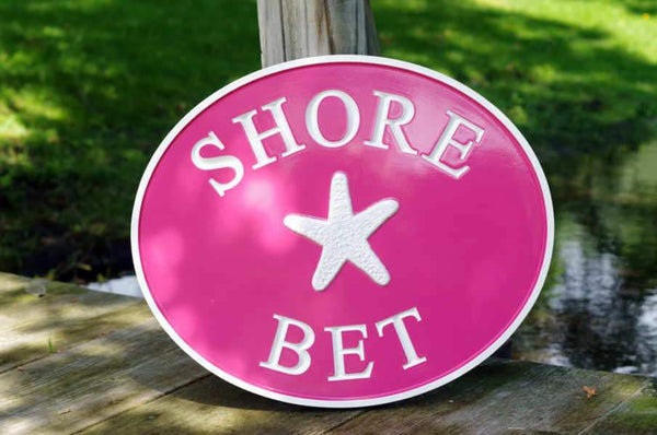 Shore Bet pink house name sign with starfish customized