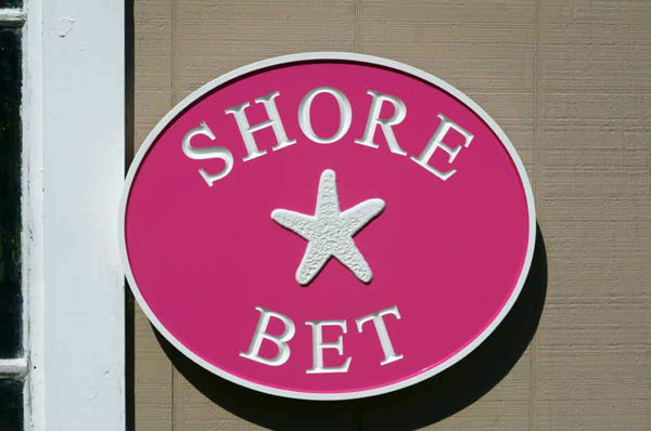 Beach house name sign Shore Bet pink
