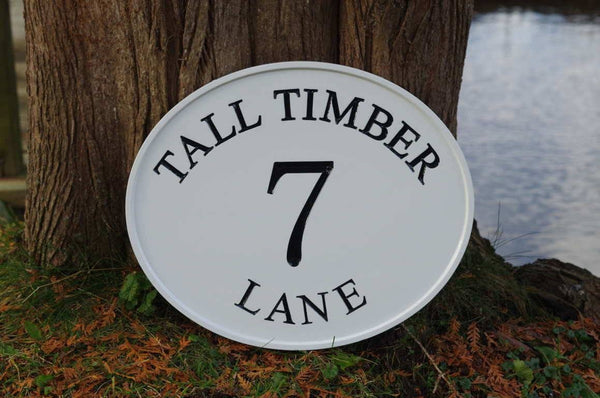 Custom carved address sign all white with black text 7 Tall Timber Lane