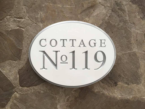 custom made professional carved address sign for business