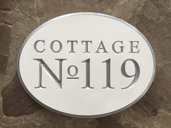 custom made professional carved address sign for business oval shape