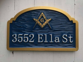 Address Sign with Freemason Image or other image(A142) - The Carving Company
