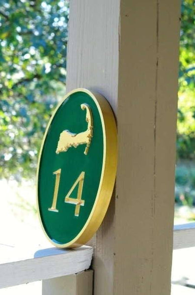 oval house number with cape cod image