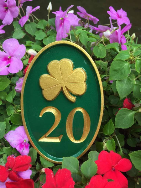 oval house number sign with shamrock