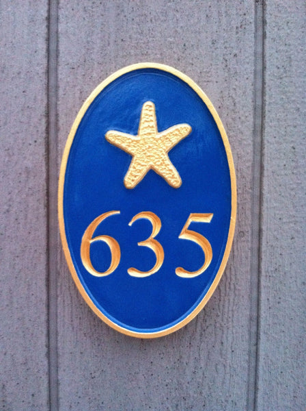 635 with starfish  house number sign - front