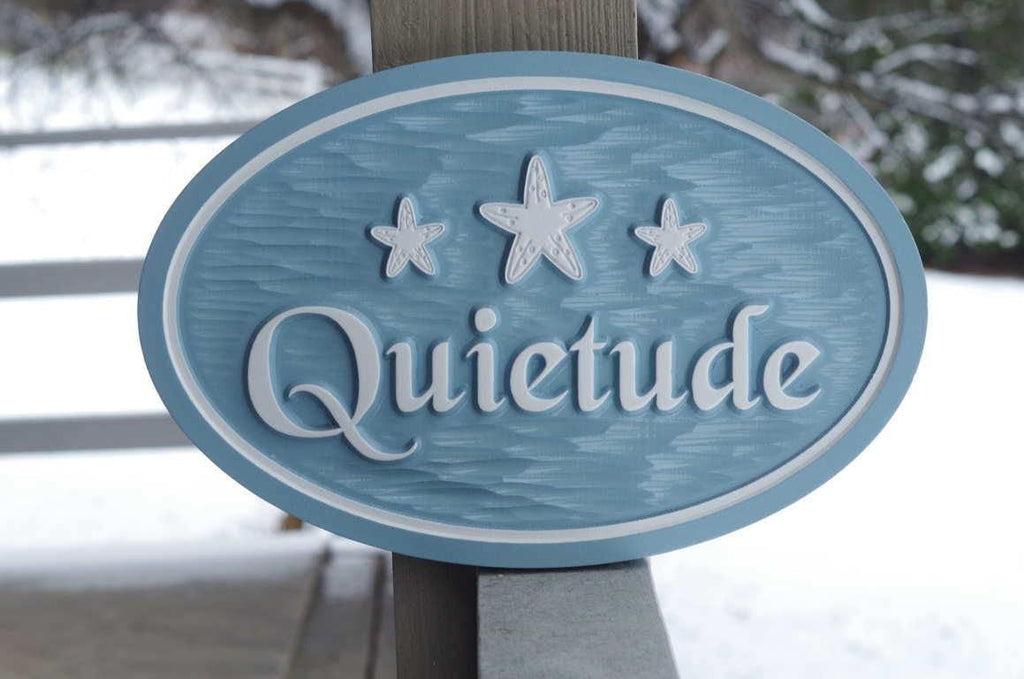 Beach themed Oval House Name Plaque with 3 Starfish (S14) - The Carving Company