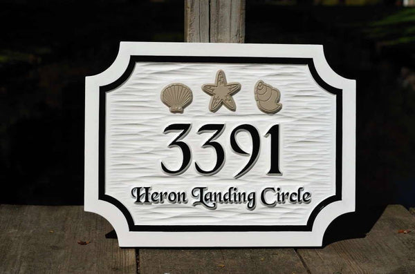 Custom made address sign with sea shells