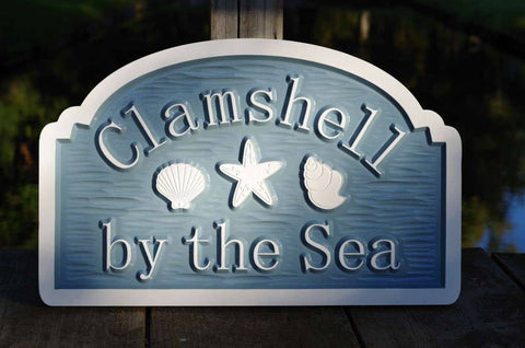 Personalized carved beach address sign light blue and white