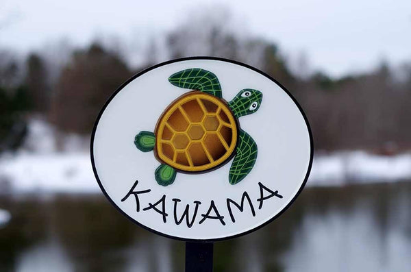 Kawama family name custom carved sign oval shape with turtle painted on it