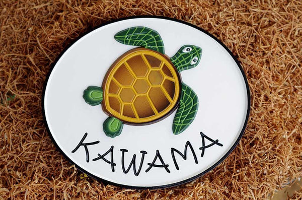 Kawama family name custom carved sign oval shape with green and brown turtle painted on it