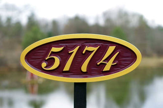 Custom Carved Oval House number sign - Plaque for Mailbox (A97) - The Carving Company