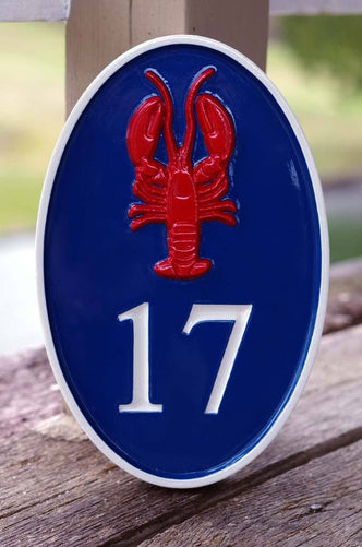 House Number Plaque with Lobster or other image (A100) - The Carving Company