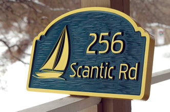 Address Sign with Street or Family Name and Sailboat Image (A135) - The Carving Company