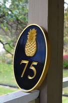 Any color Carved House number with gold pineapple on black background iso view