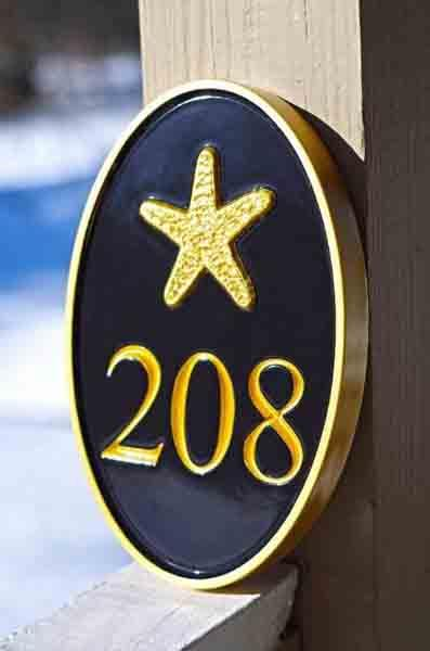 Any color Carved House number with starfish, or other image (A72) as seen in HDTV magazine - right iso view - The Carving Company