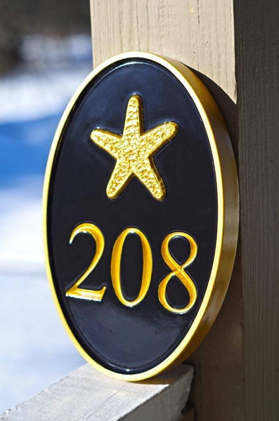Oval house number sign with starfish - 208 from HGTV magazine shoot
