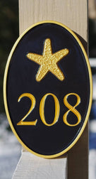 Any color Carved House number with starfish, or other image (A72) - The Carving Company